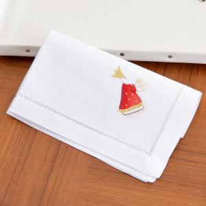 【メール便対応商品 4点まで】スウェーデンのクリスマス刺繍 ハンカチ 大判 ハンカチーフ 40×40...