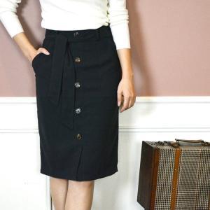 フロントボタンタイトスカート 秋冬 スカート ひざ丈  きれいめ おしゃれ オフィス|nuu