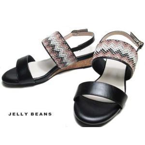 ジェリービーンズ JELLY BEANS ストーンビジューベルトサンダル 黒 レディース 靴|nws