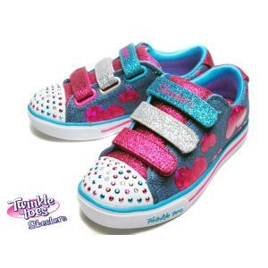スケッチャーズ SKECHERS Twinkle Toes Sparkle Lite Flutter Fab デニムマルチ キッズ 靴|nws