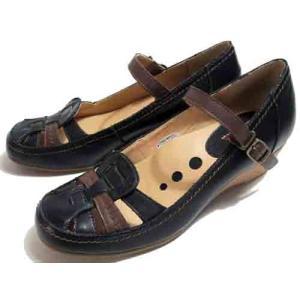 ビス Vis ウエッジヒールストラップパンプス ブラックコンビ レディース・靴|nws
