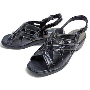 La Donna ラドンナ ウェッジソールバックバンドサンダル レディース ブラック【靴】|nws