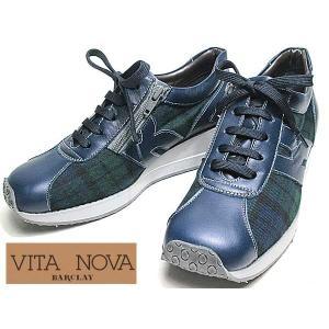 ビタノバ VITA NOVA レースアップコンフォートシューズ 厚底 ネイビーコンビ レディース 靴|nws
