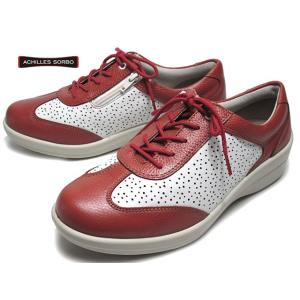 アキレス ソルボC ACHILLES SORBO 432 ワイズ4E レンガ白 サイドファスナー付 レースアップウォーキング レディース 靴|nws