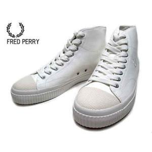 フレットペリー FRED PERRY HUGHES MID CANVAS ミッドカットスニーカー スノーホワイト メンズ 靴|nws