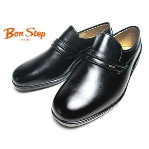 ボンステップ Bon Step コンフォートシューズ ビジネスシューズ スリッポンタイプ ブラック メンズ 靴|nws