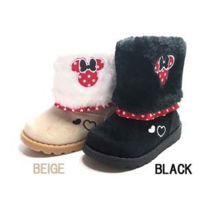 ディズニー Disney baby boots ムートンブーツ ベビーブーツ ミニーマウス ブラック キッズ 靴 nws
