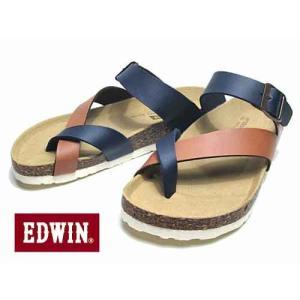 エドウィン EDWIN フットベットサンダル コンフォートサンダル サンダル ネイビー メンズ 靴|nws