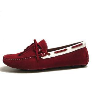 エルオム ELLE HOMME ドライビングシューズ インディアン調モカシン レッド メンズ 靴|nws
