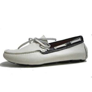 エルオム ELLE HOMME ドライビングシューズ インディアン調モカシン ホワイト メンズ 靴|nws