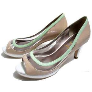 ELLE カラーコンビオープントゥパンプス ベージュコンビ レディース・靴|nws