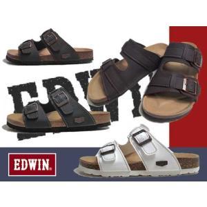 エドウィン EDWIN コンフォートサンダル フットベットサンダル 2本ベルト サンダル メンズ 靴|nws