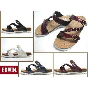 エドウィン Miss EDWIN フットベットコンフォートサンダル ダブルストラップ サンダル レディース 靴|nws