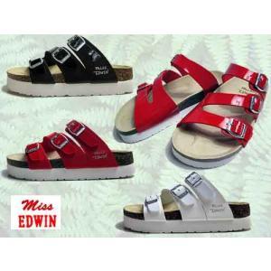 エドウィン Miss EDWIN コンフォートサンダル フットベットサンダル 厚底フラット 3本ベルト サンダル レディース 靴|nws