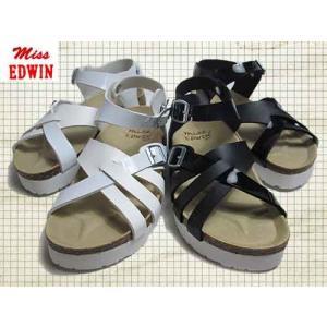 エドウィン Miss EDWIN コンフォートサンダル フットベットサンダル 厚底フラット ストラップ サンダル レディース 靴|nws