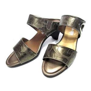 フリータイム FREE TIME 型押し革ミュールサンダル L(24cm〜24.5cm) ブロンズ レディース・靴|nws
