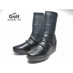 シティゴルフ City Golf ウエッジヒールストレッチミドルブーツ ブラック レディース・靴