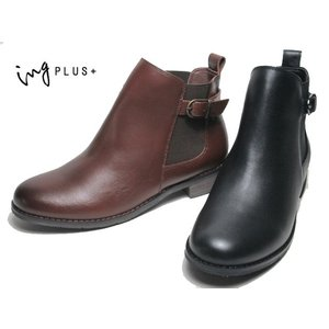 イングプラス ing PLUS サイドゴアベルトデザインショートブーツ レディース 靴