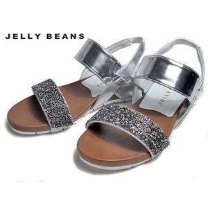 ジェリービーンズ Jelly Beans ラメビジューフットベッドサンダル シルバー レディース・靴 nws
