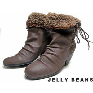 ジェリービーンズ Jelly Beans ボア折り返しショートブーツ グレー レディース・靴|nws