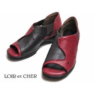 ロワールエシェール LOIR et CHER 3735 4E レッドDBR オープントゥ カジュアルシューズ レディース 靴|nws