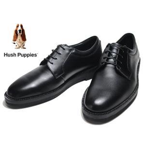 ハッシュパピー Hush Puppies M-883 ワイズ4E ビジネスシューズ プレーントゥ レースアップシューズ ブラック|nws