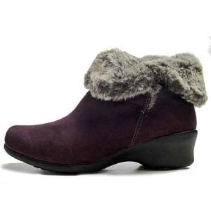 マインリラックス MineRelax ショートブーツ ボア付き 透湿防水 吸湿発熱 防寒ブーツ パープル レディース 靴 nws