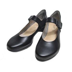 プレミアムモネ PREMIUM Monet P8820 ワイズ 3E ベルト付きカジュアルパンプス ブラック レディース 靴|nws