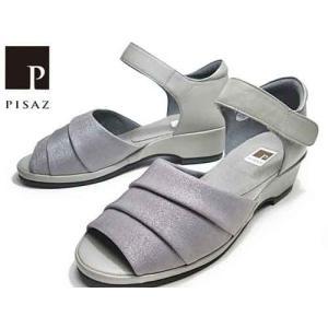 ピサ Pisaz かかと付き ベルクロストラップサンダル グレーファブリック レディース 靴 nws