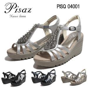 ピサ Pisaz PISQ04001 3E ビジューウェッジヒールサンダル レディース 靴|nws