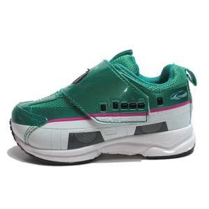 プラレール PLARAIL タカラトミー E5系新幹線 はやぶさ マジックタイプ スニーカー グリーン キッズ 靴|nws