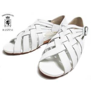 ラスピーニ RASPINI ローヒールクロスストラップサンダル ホワイト レディース・靴|nws