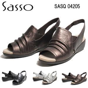 サッソー Sasso SASQ04205 3E シュリンクレザーサンダル レディース 靴|nws