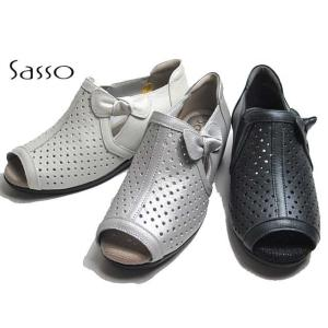 サッソー Sasso SASQ09211 ワイズ3E パンチングデザインリボン付きサンダル レディース 靴|nws