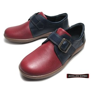 アキレス ソルボ ACHILLES SORBO 440 ワイズ3E ネービーレッド モンクストラップ ウォーキングシューズ レディース 靴|nws