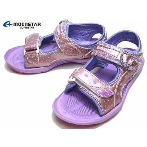 ムーンスター スーパースター 子供靴 ガールズ向けスポーツサンダル バネのチカラ ピンク キッズ 靴|nws