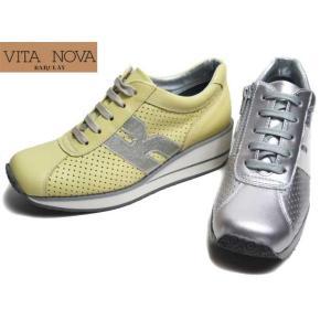 ビタノバ VITA NOVA 6967 ウェッジソール パンチングレザーレースアップシューズ 厚底スニーカー レディース 靴|nws