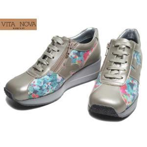 VITA NOVA ヴィタノーヴァ 6996 3E レースアップコンフォートシューズ 厚底 プラチナコンビ レディース 靴|nws