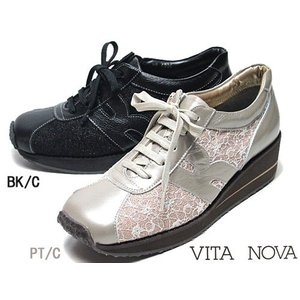 ビタノバ VITA NOVA レースアップコンフォートシューズ 厚底 レディース 靴|nws