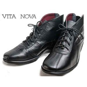 ビタノバ VITA NOVA レースアップアンクルブーツ ブラックコンビ レディース・靴|nws