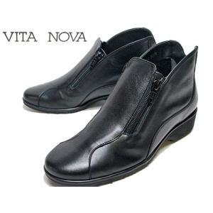 ビタノバ VITA NOVA サイドファスナーアンクルブーツ ブラックコンビ レディース・靴|nws
