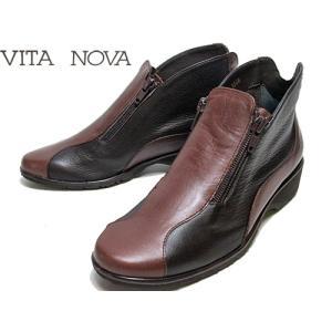 ビタノバ VITA NOVA サイドファスナーアンクルブーツ ダークブラウンコンビ レディース・靴|nws
