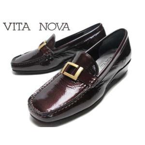 ビタノバ VITA NOVA カジュアルエナメルローファー ボルドーエナメル レディース 靴|nws