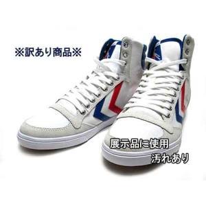 わけあり商品 ヒュンメル hummel スリマー スタディール ハイ 25.0cm ホワイトブルーレッドガム メンズ レディース 靴|nws