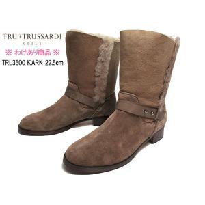 【わけあり商品】トラサルディ TRU TRUSSARDI TRL3500 22.5cm カーキ 折り返しファーミディアムジョッキーブーツ レディース 靴|nws
