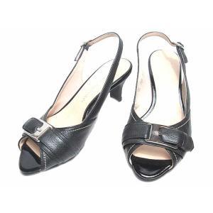 【ワケあり商品】トラサルディ TRUSSARDI ベルトデザイン バックバンドサンダル ブラック 21.5cm レディース 靴 nws