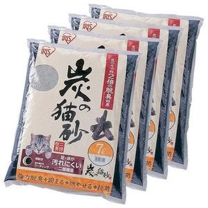 炭の猫砂 7L×4袋 アイリスオーヤマ 猫砂 炭 固まる 燃える おすすめ ペットトイレ|nyanko|02