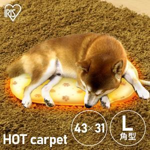 (タイムセール) ペットベッド 犬 猫 冬用 マット おすすめ 秋冬あったか カバー付き ペット用ホットカーペット 角型 40*29 Lサイズ PHK-L アイリスオーヤマ