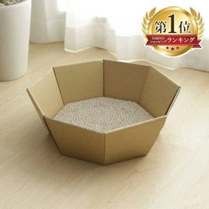 猫ちゃんが喜んで入るダンボール製ボックスです♪ 鍋のような八角形の形がおしゃれなデザインです☆ 八面...