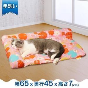 ペットベッド 夏用 犬 猫 サララfeel L字型枕付きマット なついろ摸様 マット 犬 猫 ベッド さらさら 自然素材 枕 ヒンヤリ わら ドギーマン nyanko